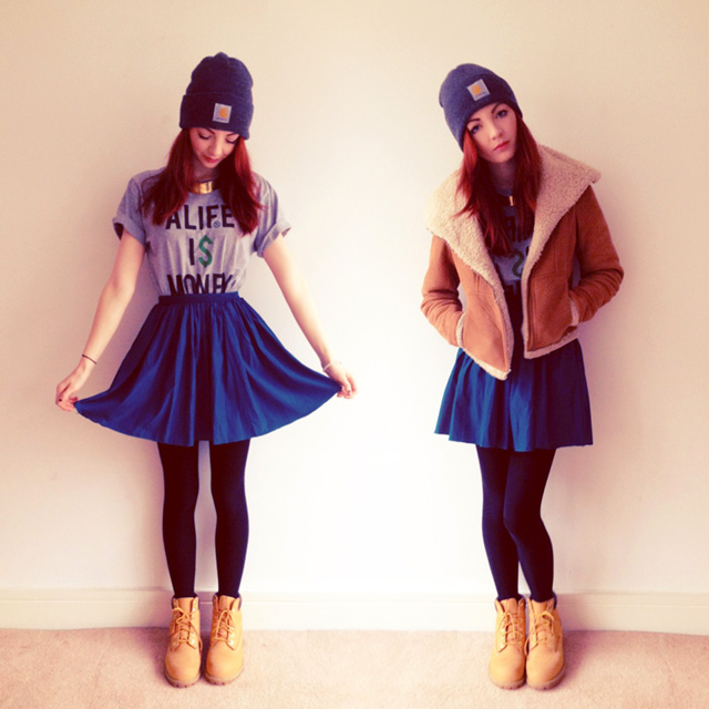cute sweater skirt outfits
