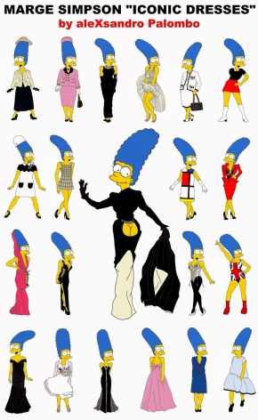Marge Simpson WALLPAPER Art Cartoon Illustration Satire Sketch Fashion Luxury Style Iconic Dresses all the time The simspsons Humor Chic by aleXsandro Palombo