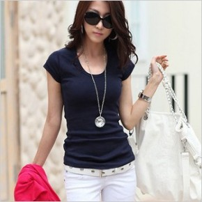 2014-summer-solid-fashion-women-s-t-shirt-double-U-design-female-short-sleeve-slim-basic