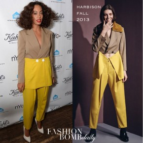 Solange-Knowless-NYC-Pride-Week-Kiehls-Event-Harbison-Fall-2013-Tan-Brown-and-Yellow-Colorblock-Blazer-Jacket-and-Matching-Pants-700x698