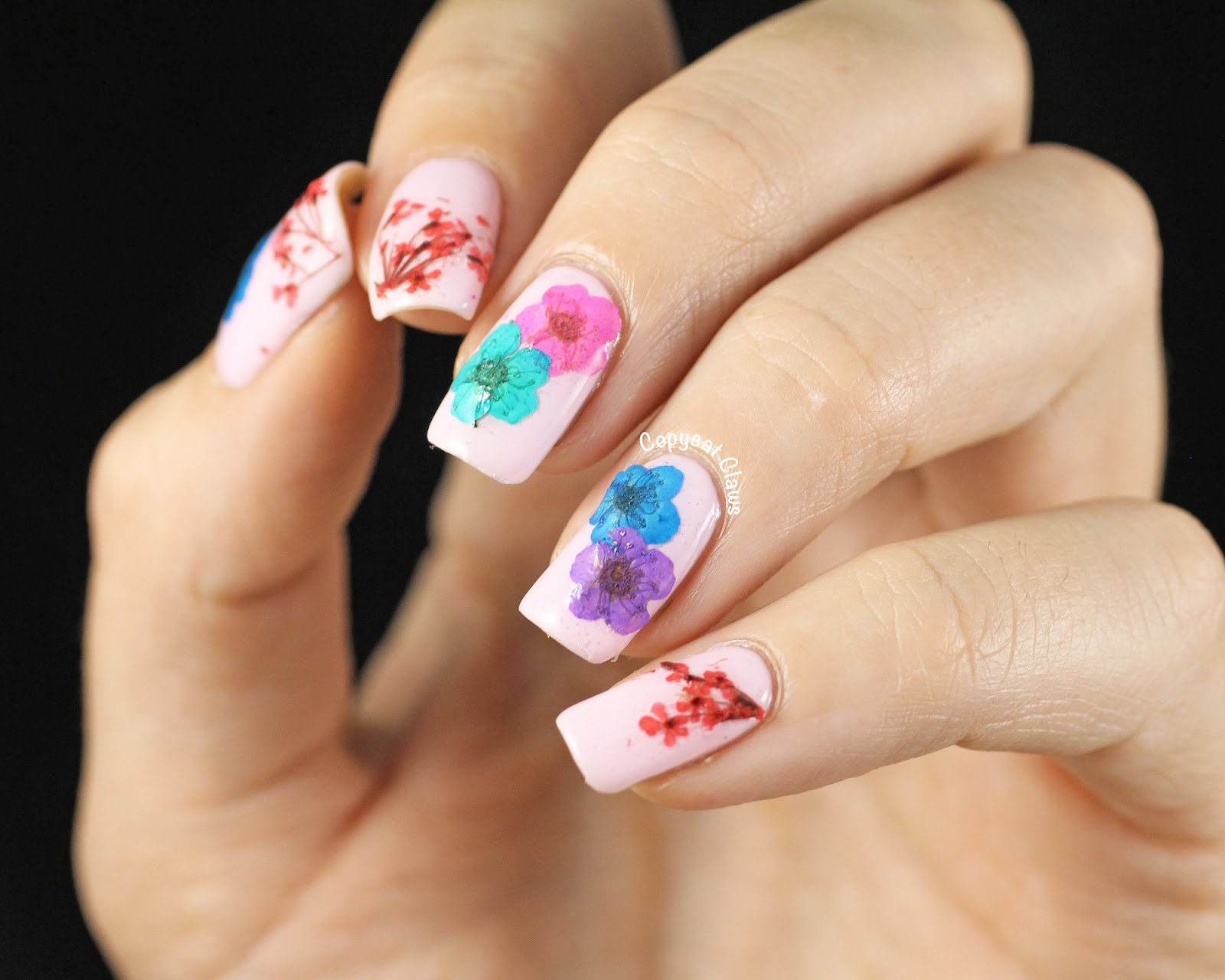 Dried Flower Nail Art | The Fashion Foot